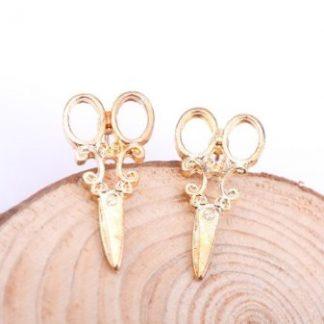 Antique Scissors Earrings - Gold