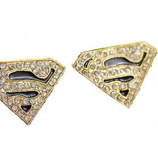 Superman Rhinestone Stud Earrings