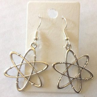 Atom Symbol Antiqued Silver Earrings