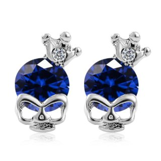 Skull With Crown & Stone Earrings Blue Stone