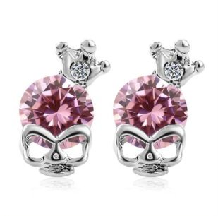 Skull With Crown & Stone Earrings Pink Stone