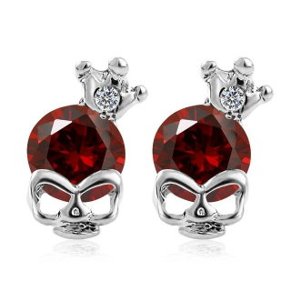 Skull With Crown & Stone Earrings - Red Stone