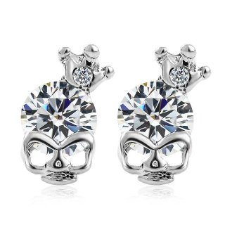 Skull With Crown & Stone Earrings - Clear Stone