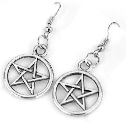 Pentagram Dangle Earrings - Antique Silver