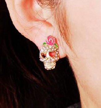 Skull With Pink Bow Rhinestone Stud Earrings