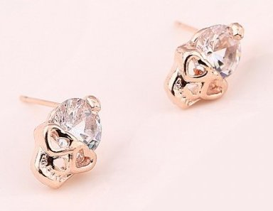 Skull With Hearts & Stone Earrings