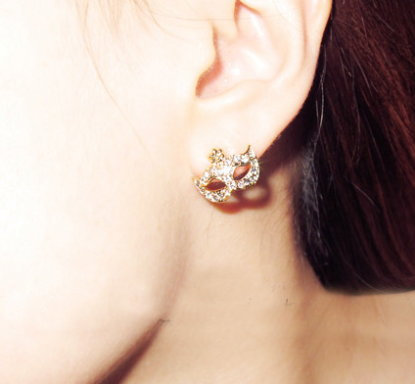 Masquerade Mask Earrings - Gold