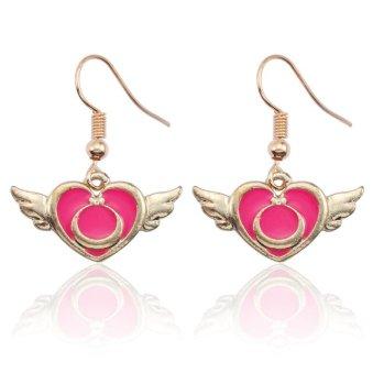 Anime Sailor Pink Heart Wings Dangle Earrings