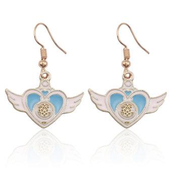Anime Sailor Blue Heart Wings Dangle Earrings