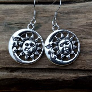 Sun & Moon Antique Silver Dangle Earrings