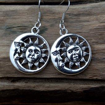 Sun & Moon Antique Silver Dangle Earrings