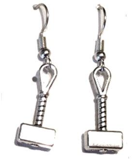 Thor's Hammer Mjölnir Dangle Earrings - Antique Silver