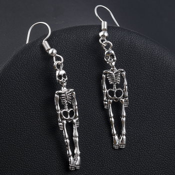 Skeleton Dangle Earrings - Antique Silver