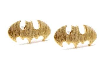 Batman Logo Tiny Stud Earrings - Gold