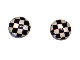 Black & White Checked Stud Earrings