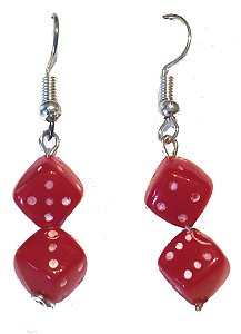 Dice Dangle Earrings - Red