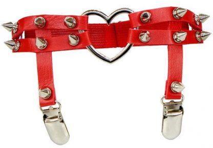 PU Leather Garter Set – Hearts & Spikes