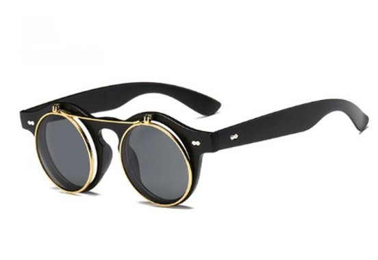 Flip-Up Steampunk Sunglasses - Flat Black