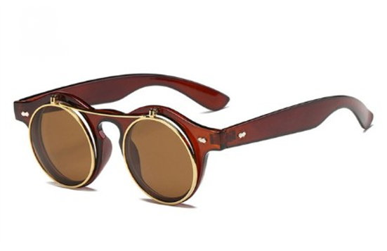 Flip-Up Steampunk Sunglasses - Brown