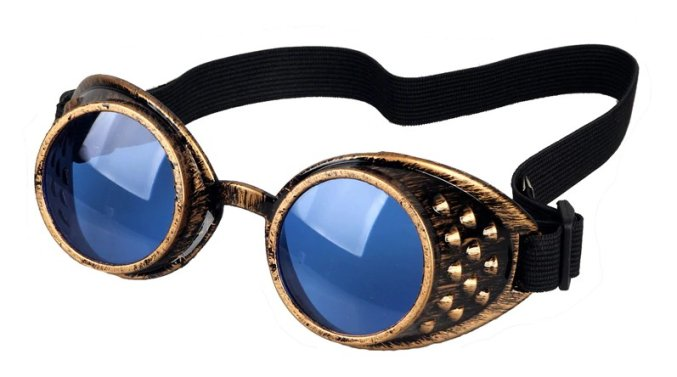 Goggles - Antique Copper with Blue Lenses
