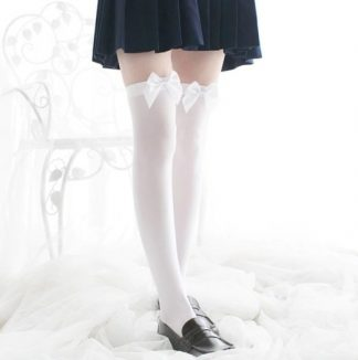 Over The Knee Long Stockings - White with White Bow