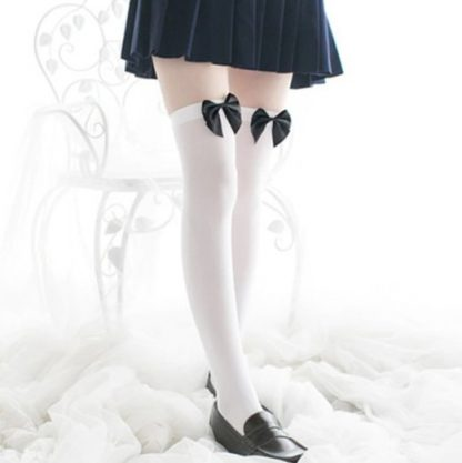 Over The Knee Long Stockings - White with Black Bow