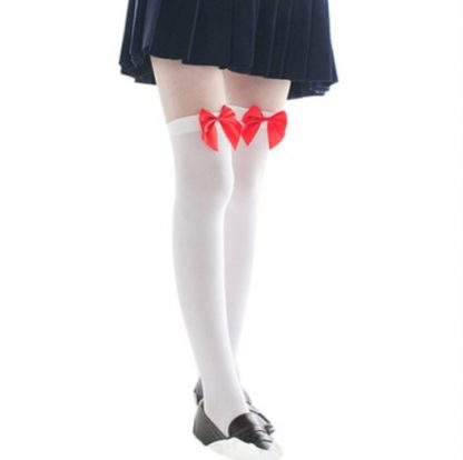 Over The Knee Long Stockings - White with Red Bow