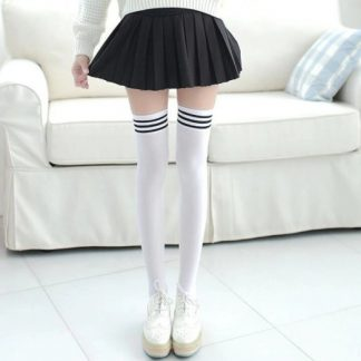Over The Knee Long Socks -White with Black Striped Top