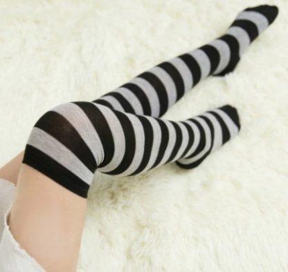 Over The Knee Long Socks - Black and Gray Stripes