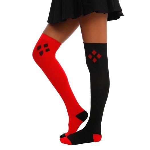 Harley Quinn Over The Knee Long Socks - Red & Black Combo