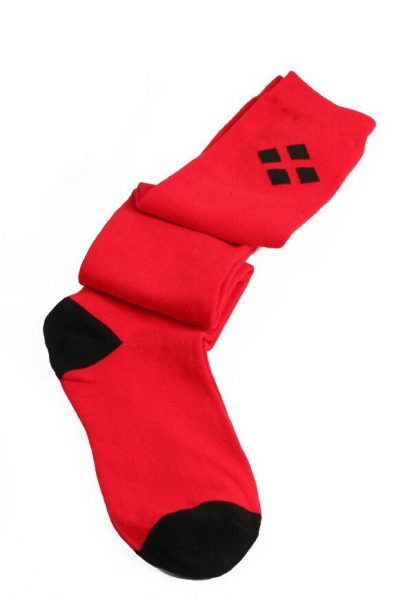 Harley Quinn Over The Knee Long Socks - Red