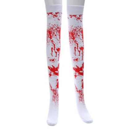 Over The Knee Long Stockings - White with Blood Spatter