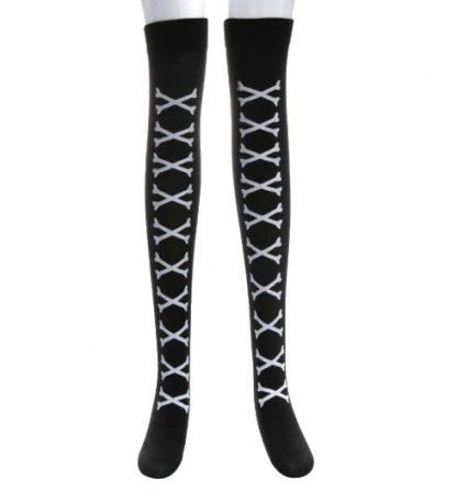 Over The Knee Long Stockings - Crossbones White