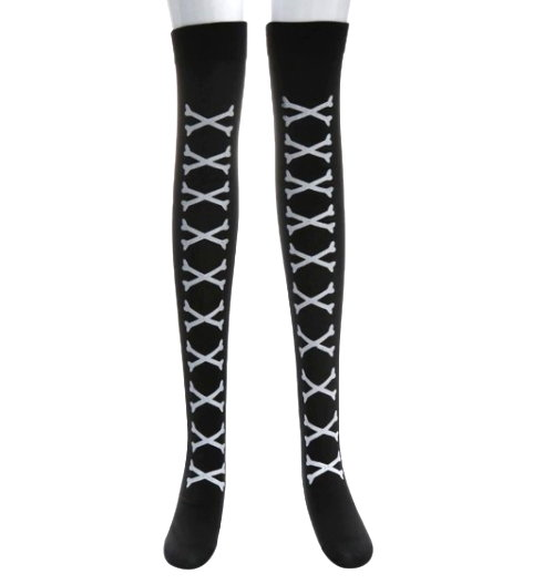 Over The Knee Long Stockings - Crossbones White