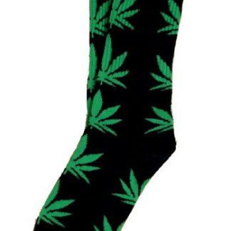 Marijuana Leaf Unisex Crew Socks - Black w/Dark Green Leaf