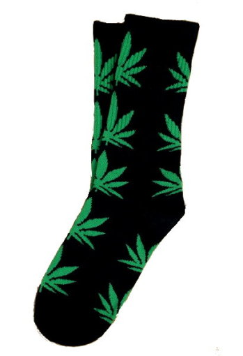 Marijuana Leaf Unisex Crew Socks - Black w/Dark Green Leaf
