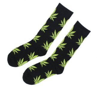 Marijuana Leaf Unisex Crew Socks - Black w/Light Green Leaf