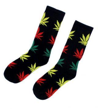 Marijuana Leaf Unisex Crew Socks - Black w/Multi-Coloured Leaf