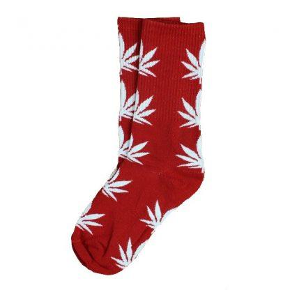 Marijuana Leaf Unisex Crew Socks - Burgundy w/White Leaf