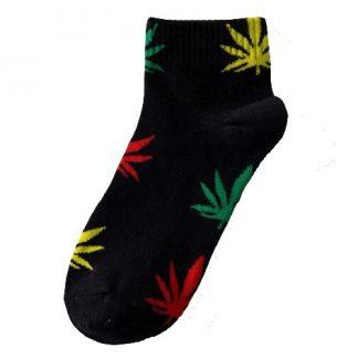 Marijuana Leaf Ladies Ankle Socks - Black with Mullti-Coloured Leaf