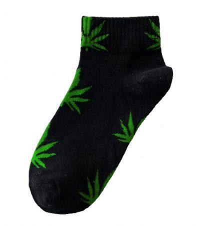 Marijuana Leaf Ladies Ankle Socks - Black with Light Green Leaf