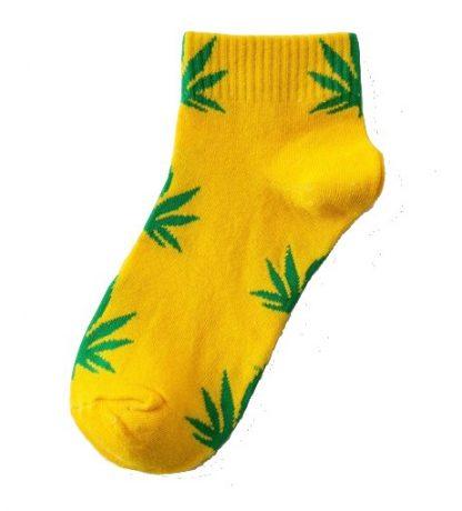 Marijuana Leaf Ladies Ankle Socks - Yellow with Green Leaf