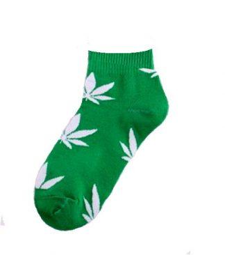 Marijuana Leaf Ladies Ankle Socks - Greed with White Leaf