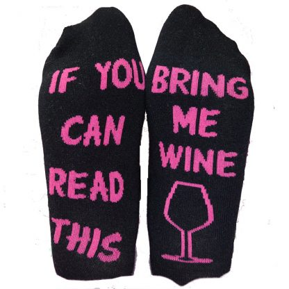 If You Can Read This Bring Me Wine Socks #1