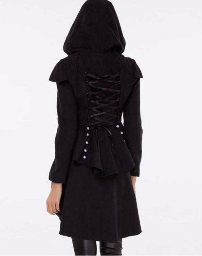 Black Corseted Hooded Women's Hi-Lo Coat