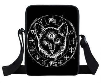 Satanic Black Cat Mini Messenger Bag #3