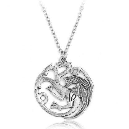 Game of Thrones House Targaryen Dragon Necklace - Silver