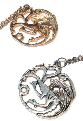 Game of Thrones House Targaryen Dragon Necklace - Gold or Silver