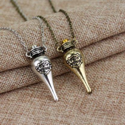 Harry Potter Felix Felicis Potion Bottle Necklace - Gold or Silver