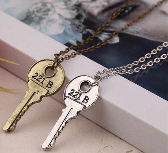 Sherlock Holmes Key to 221B Baker Street Necklace - Modern Key, Silver or Brass